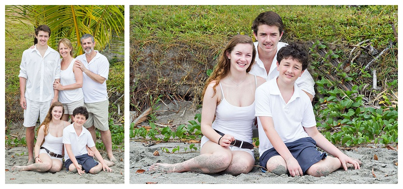 family portrait, palm tree, white clothes, beach, costa rica
