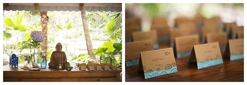 costa rica, place cards, blue, reception