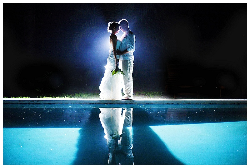 backlit, bride and groom, pool, reflection