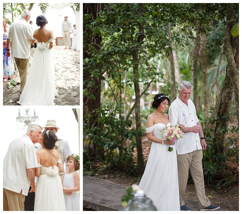 bride and her dad, bride and father, costa rica