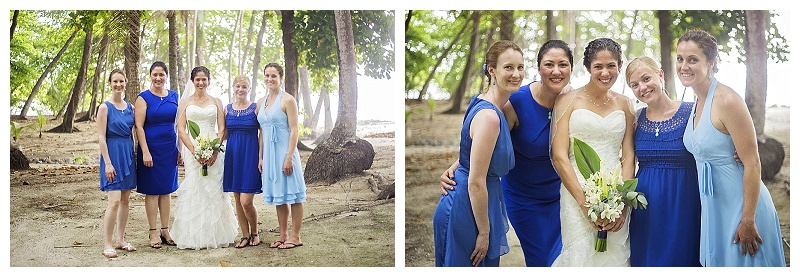 blue bridesmaid dresses, costa rica, beach weddin