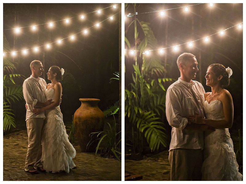 Night portraits, bride and groom, string lights, costa rica, photography