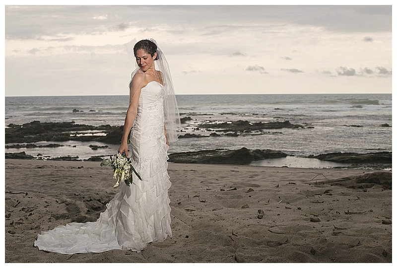 bride portraits at the beach, costa rica, santa teresa