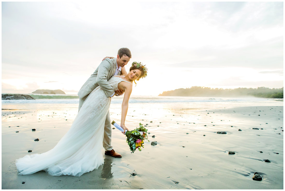 manuel antonio, beach wedding, sunset