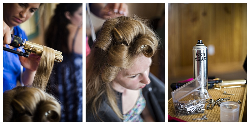 bride in curlers, bride getting hair done