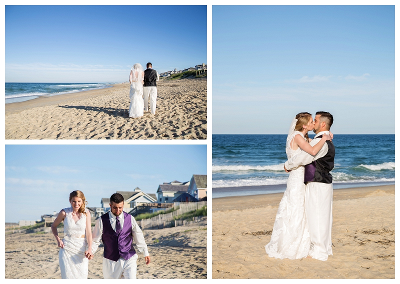 bride and groom walking the beach, nags head, NC