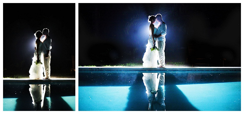 backlit, pool, reflection, wedding photography