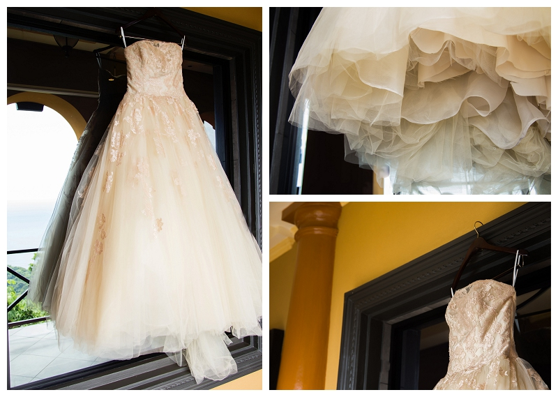Champagne wedding dress, villa caletas, costa rica