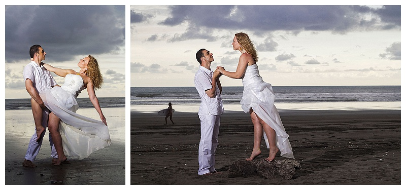 dramatic beach portraits, costa rica weddings