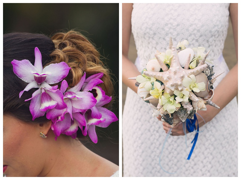 pink orchid, hair updo, wedding hair, costa rica, seashell bouquet