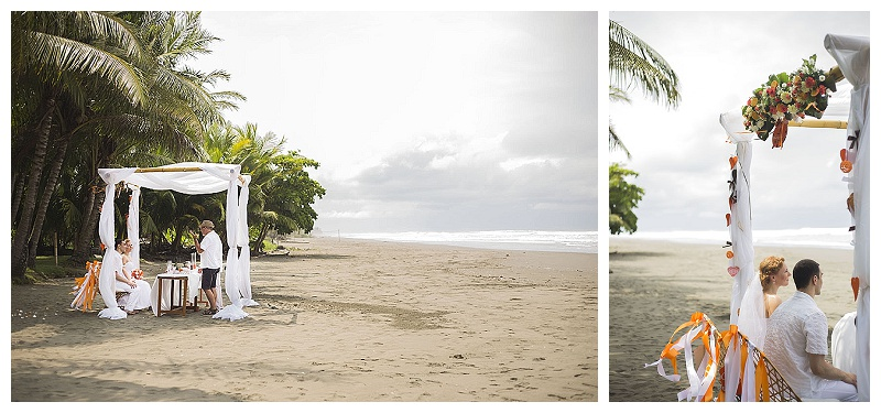 beach wedding, costa rica, tropical, orange
