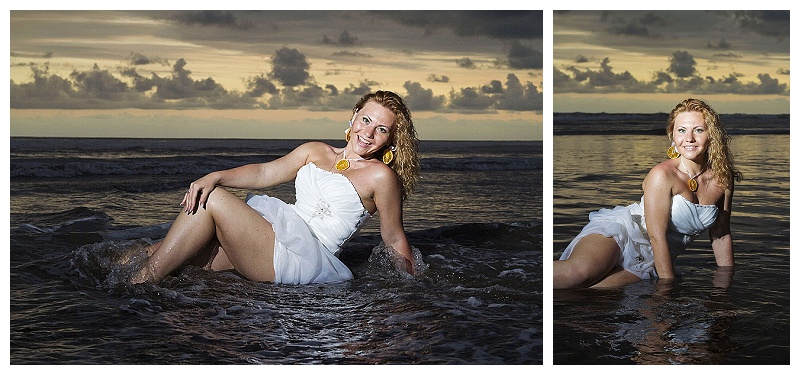 trash the dress, bride in the water, beach, ocean, costa rica