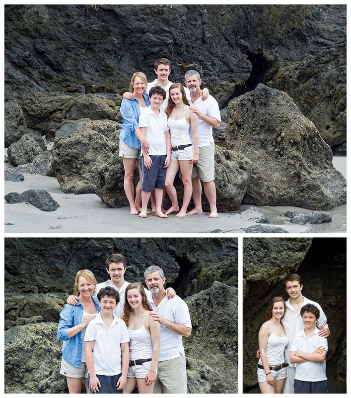 family portrait manuel antonio beach volcanic rock