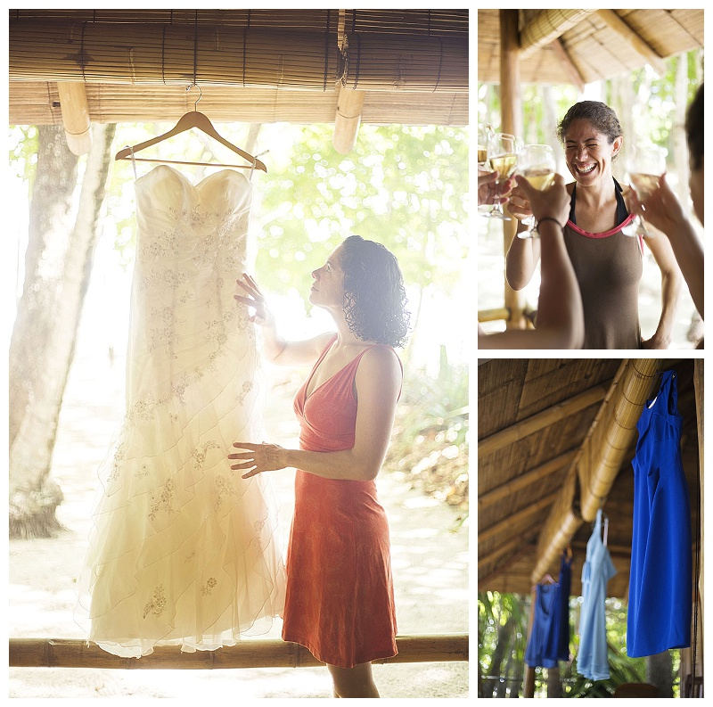 bride getting ready, blue bridesmaid dresses, milarepa, costa rica