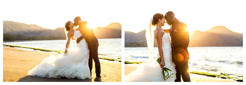 costa rica, sunset wedding