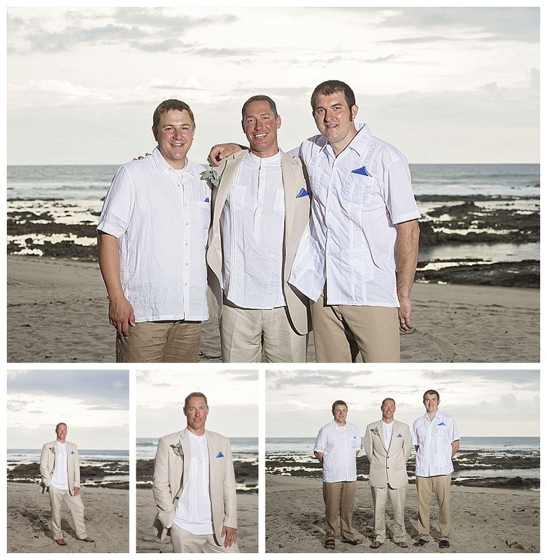 groom and groomsmen, costa rica, beach wedding