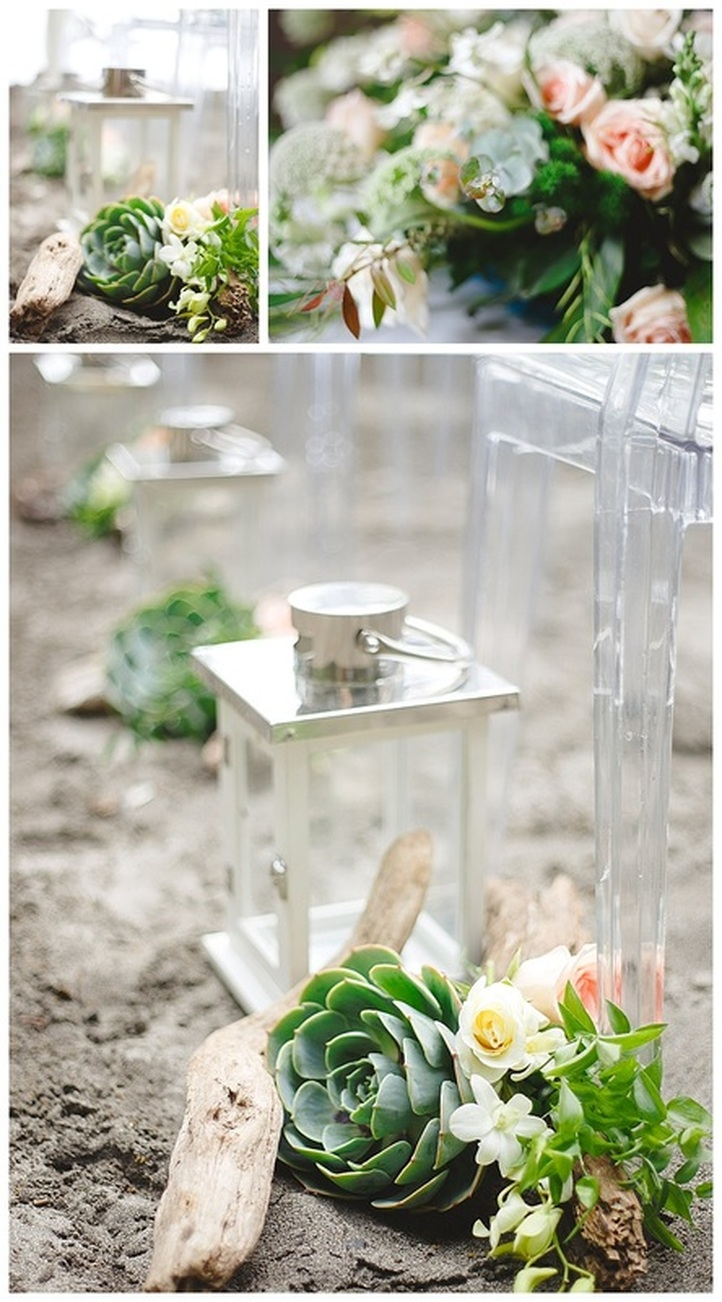 ceremony decor, succulents, orchids, pastel colors, beach ceremony, drift wood