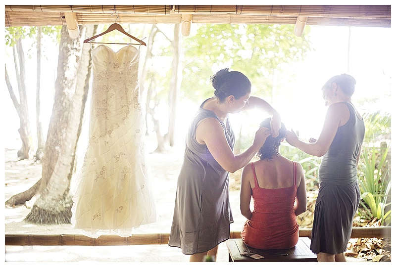 getting ready, costa rica, wedding, photography