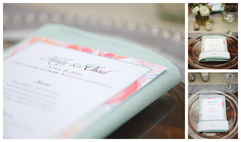 pastel menus, invitaions, place setting, discovery beach house